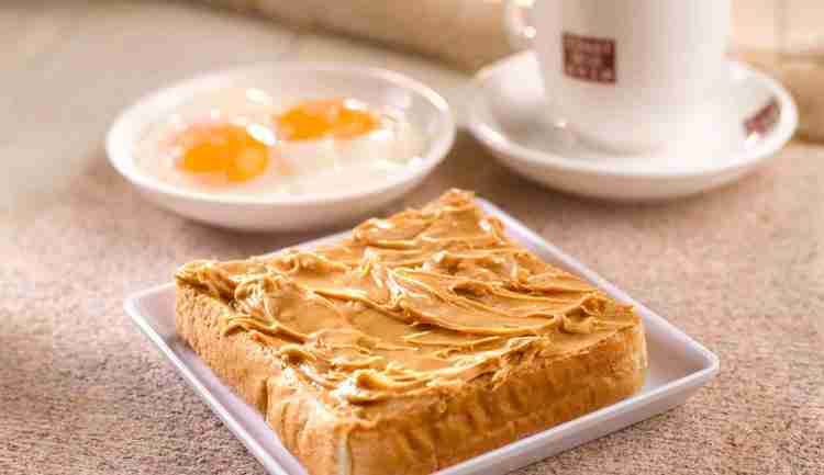 Healthy breakfast on the go - Peanut butter toast set from Toastbox